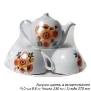 Набор 8 предметов Цветы (Чайник 0,6л+6 чашек+блюдо