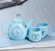 Чайный набор Петелька 3 предмета голубой