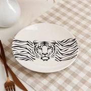 Тарелка Тигр белая 19,5 см рисунок микс
