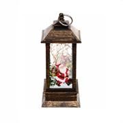 Фонарь новогодний с подсветкой 5х5х14 см, свеча