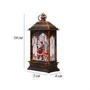 Фонарь новогодний с подсветкой 7х4х14 см, свеча