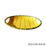 Поднос Бамбук овальный пластик 32,5х25х4,5 см