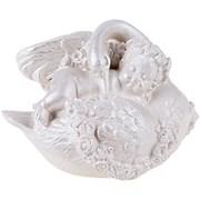 Ангел с лебедем перламутр  70х100х70 мм