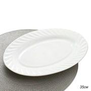 Блюдо овальное 35 см белое/уп.24/стеклокерамика
