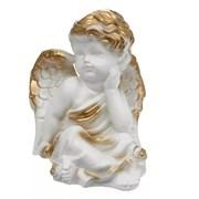 Ангел думающий с розой бело-золото/1х20/16х15х19см