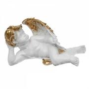 Ангел лежащий бело-золотой /1х6/ 34х15х20 см